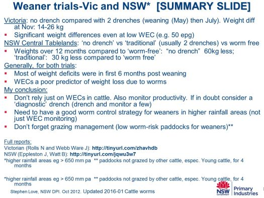 SL.worm impact on weaner cattle summary PPT slide